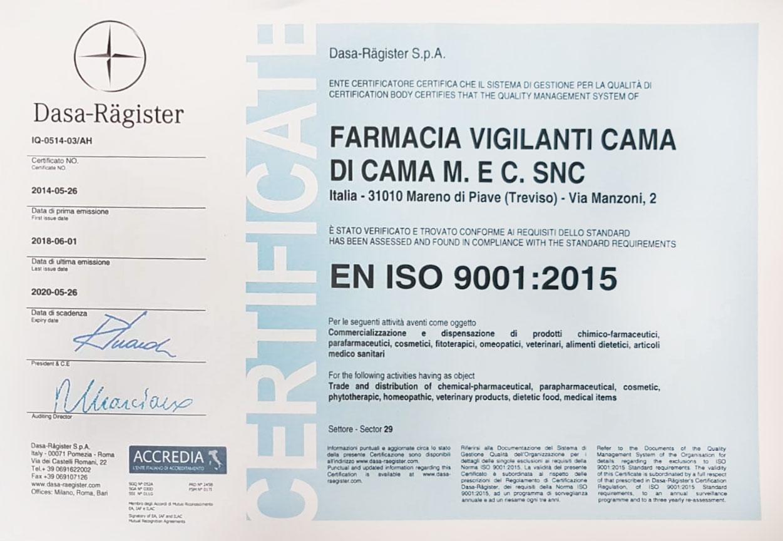 Certificazione ISO 9001:2015 Farmacia Vigilanti Cama